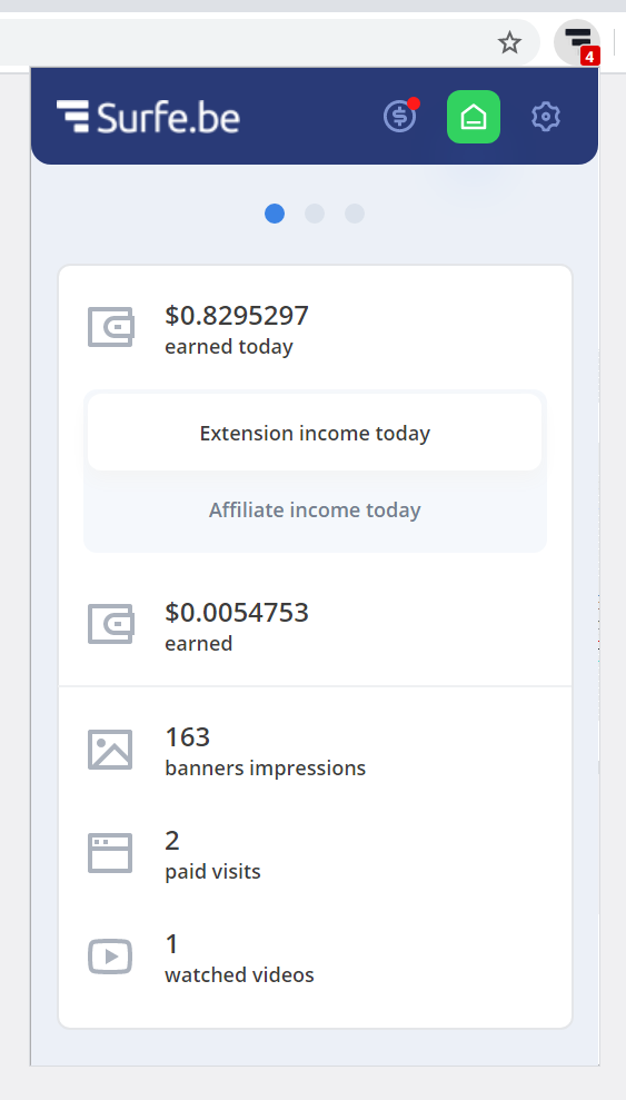 Surfe.be extension daily stats of ext