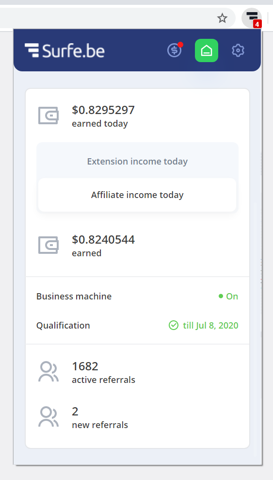 Surfe.be extension daily stats of affiliate